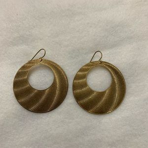 Gold circular earrings with fish hook ear wire
